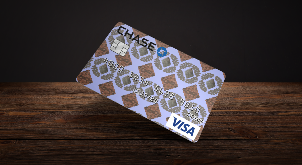 Credit card made using coin patterns.